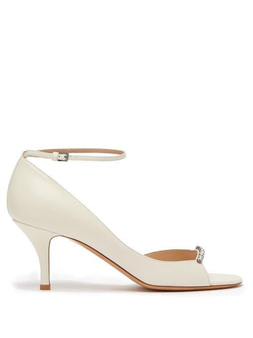 Valentino Garavani Crystal-embellished Leather Sandals In White