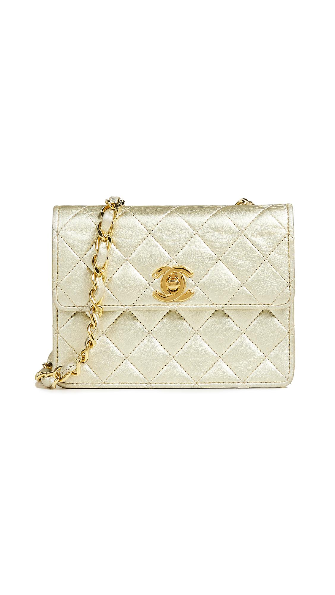 715297e4cd02 What Goes Around Comes Around Chanel Half Flap Micro Mini Bag In Gold