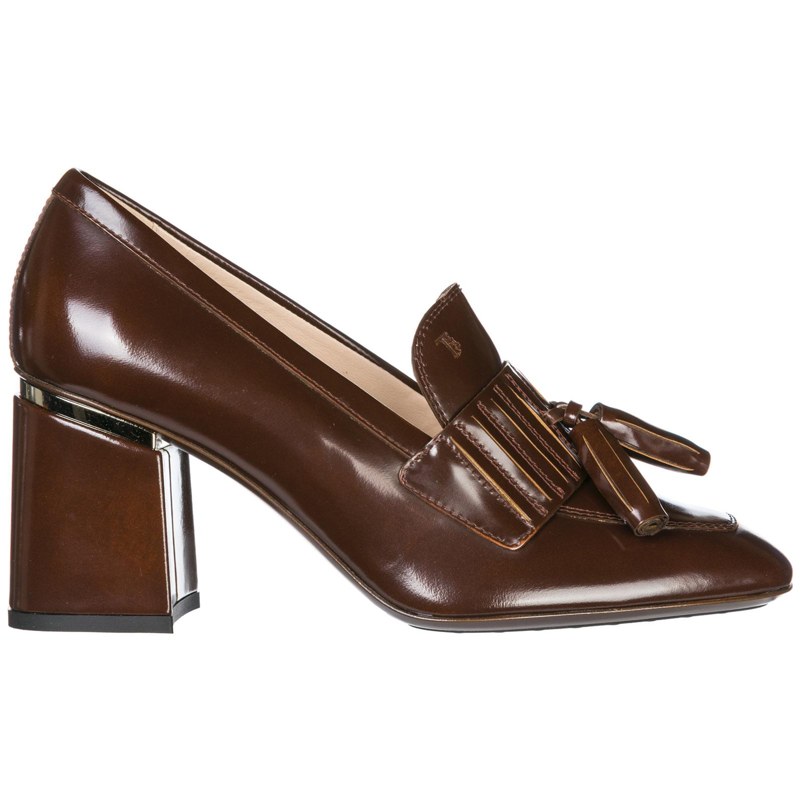 Tod's Women's Leather Pumps Court Shoes High Heel In Brown