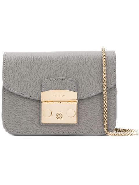 Furla Women's Leather Shoulder Bag Metropolis In Grey