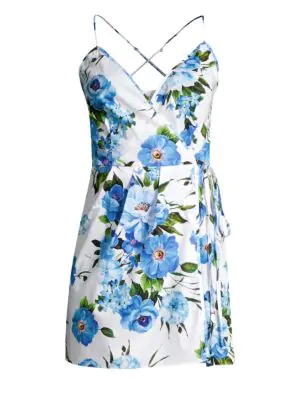 Milly Rose Print Wrap Dress In Blue Multi