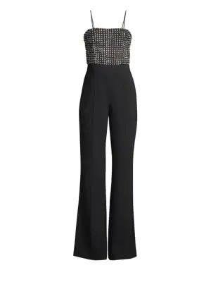 69e3c952570 Alice And Olivia Mannie Crystal Embellished Jumpsuit In Black