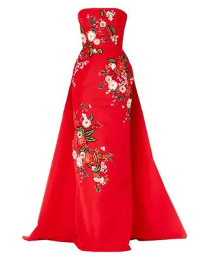 ff41d2716e59b6 Carolina Herrera Straplesss Floral-Embroidered Silk Ball Gown In Red ...