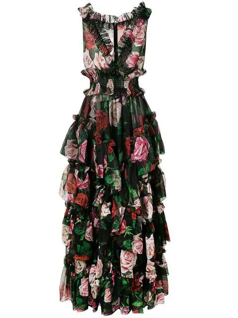 Dolce & Gabbana Ruffled Tiered Floral-Print Silk-Chiffon Gown In Hnx46 Mix Rose Fdo.Nero
