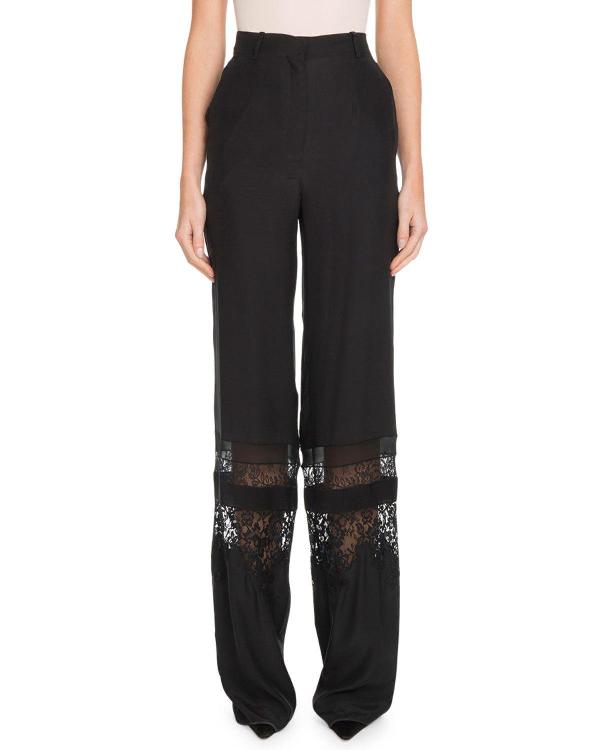 Altuzarra High-Waist Tonal Lace Panel Wide-Leg Silk Pants In Black