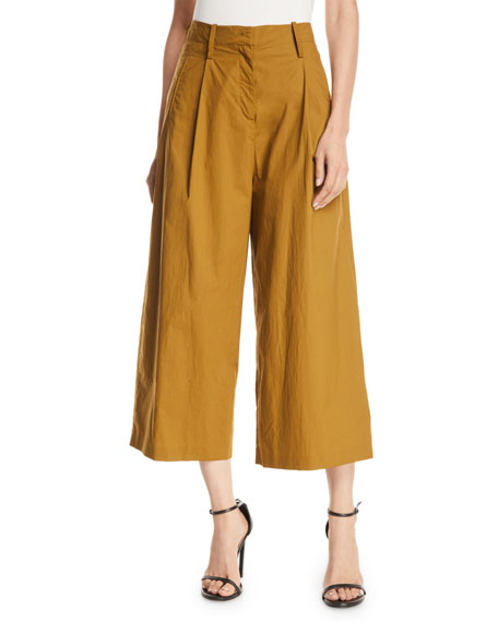 Etro High-rise Pleated-cotton Culottes In Beige
