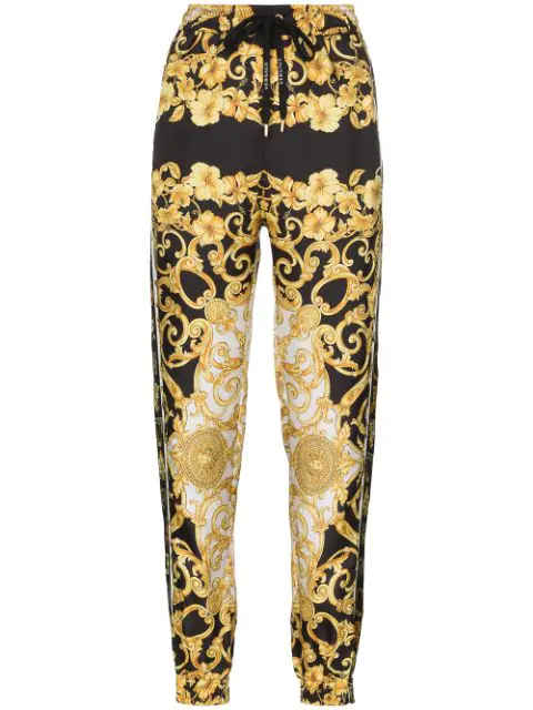 Versace Gold Hibiscus Print Silk Twill Trousers In A7900 F. Do Nero + Stampa Oro