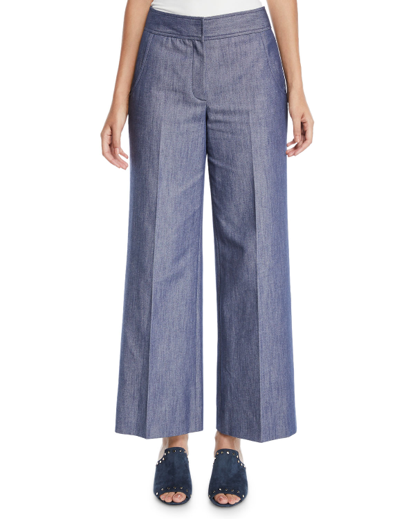 Derek Lam Wide-Leg Denim Culotte Pants In Indigo