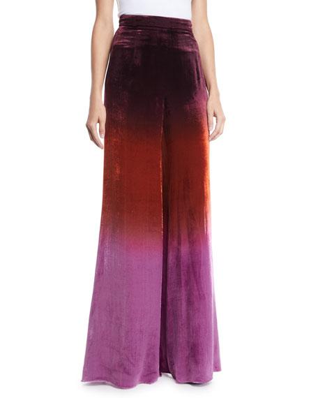 Cushnie High-Waist Ombre Velvet Wide-Leg Pants In Brown Pattern