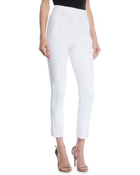 Cushnie Et Ochs High-waist Stretch-cady Cigarette Pants W/ Topstitching In White