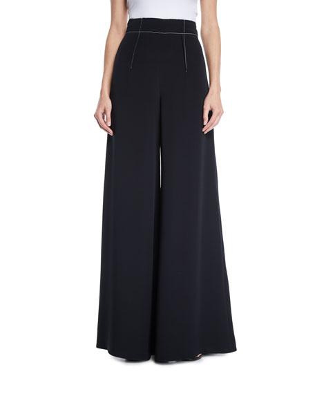 Cushnie High-Waist Wide-Leg Silk Crepe Pants W/ Topstitching In Black