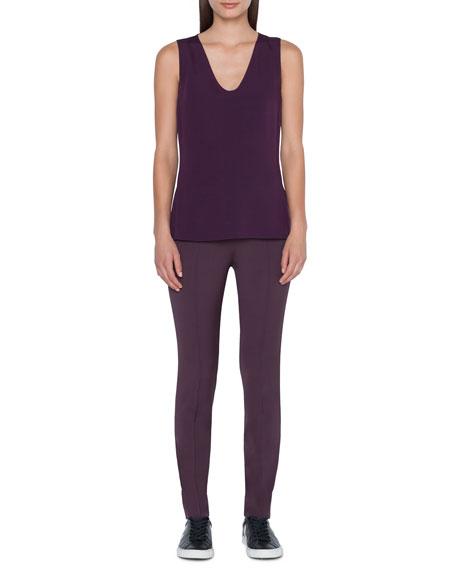 Akris Sleeveless V-Neck Silk Crepe Top In Purple