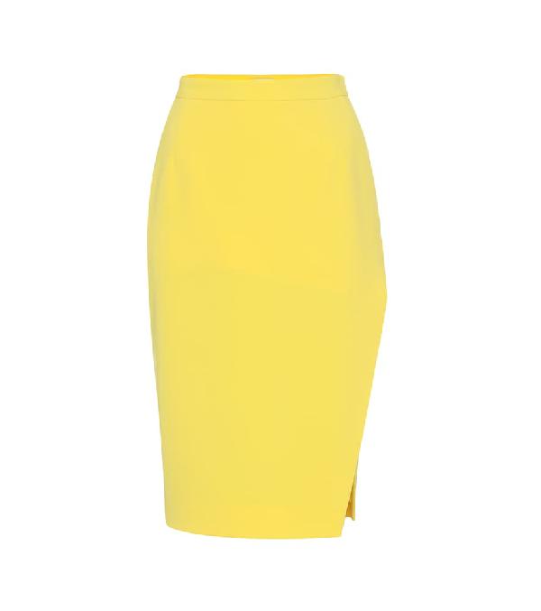Altuzarra Pencil Crepe Knee-Length Skirt In Yellow