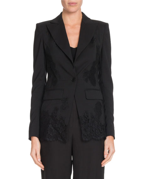 Altuzarra Tonal Lace One-Button Wool Blazer W/ Lace Panels In Black