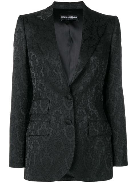 Dolce & Gabbana Single-breasted Ornamental-jacquard Blazer In Black