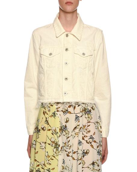 Off-White Embroidered Denim Crop Jacket In White