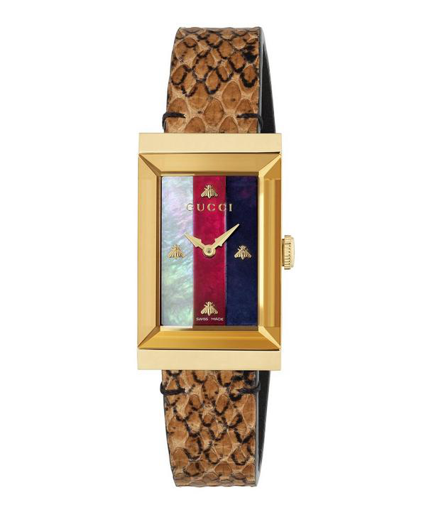 Gucci Yellow Gold Pvd, Mother-Of-Pearl & Leather Strap Watch In White