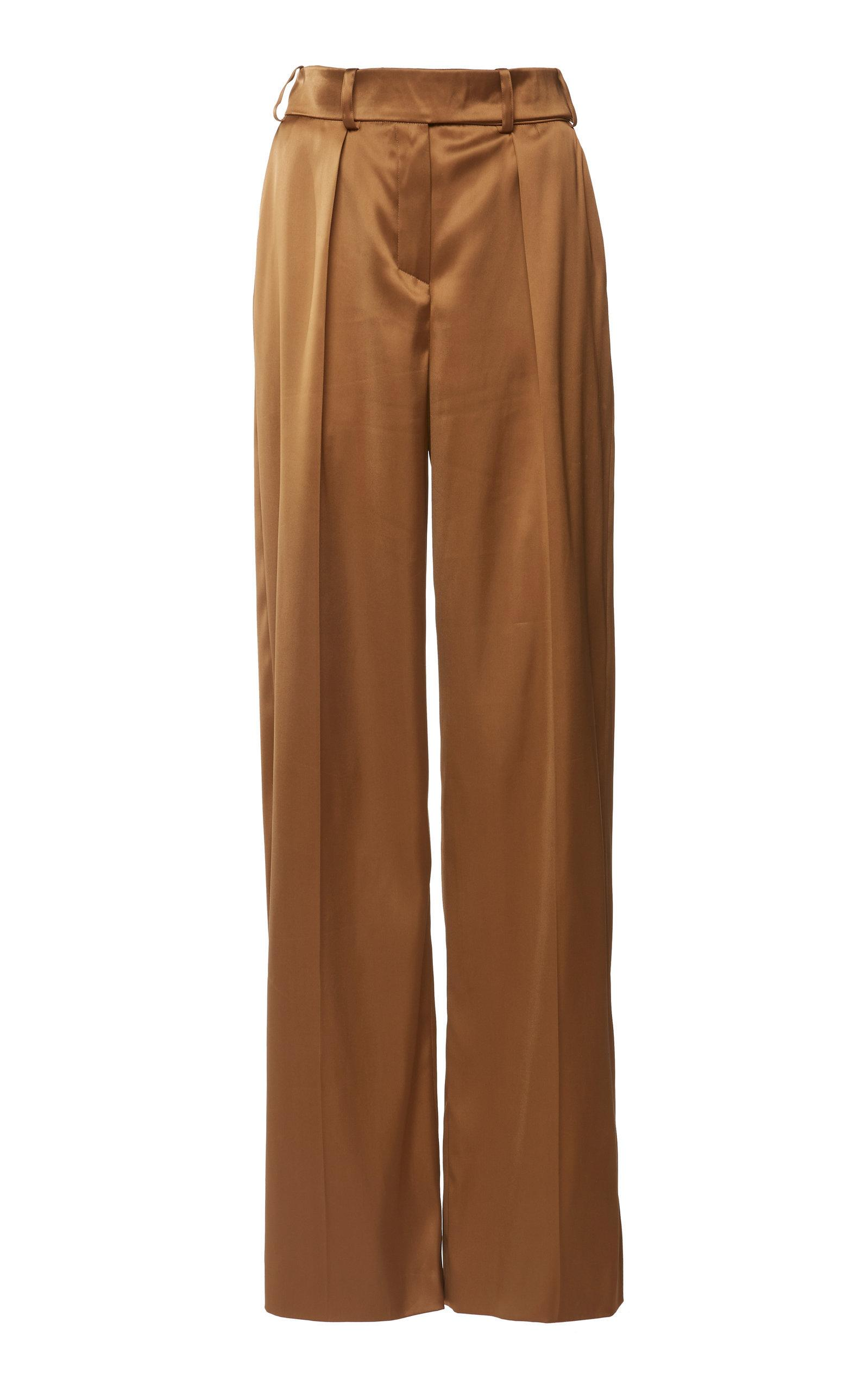 Alexandre Vauthier Wide-Leg Satin Pants In Brown