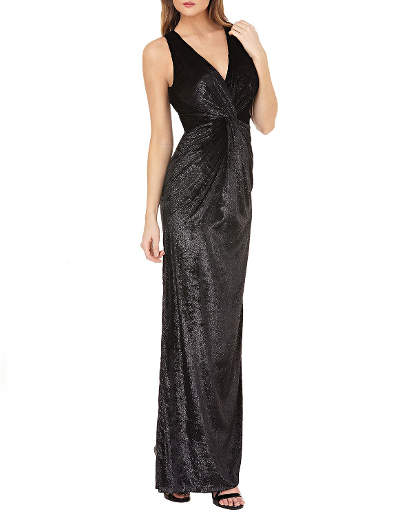 b9bbcc3c4394 Js Collections Sleeveless V-Neck Shiny Velvet Column Gown W/ Twist Detail  In Black