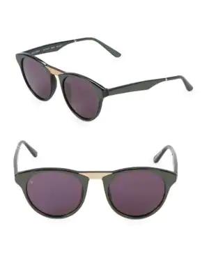 Smoke X Mirrors Black Betty 48Mm Round Cat-Eye Sunglasses In Black Gold