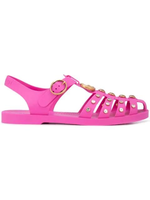 Gucci Crystal Embellished Sandals - Pink