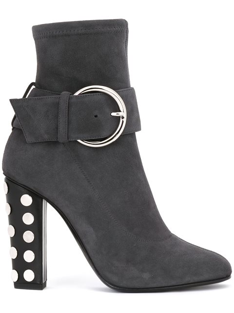 Giuseppe Zanotti Studded Heel Ankle Boots In Grey