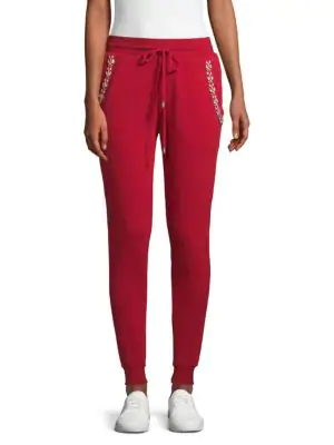 Hemant & Nandita Embellished Cotton Jogger Pants In Burgundy