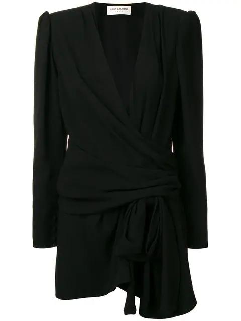 Saint Laurent Sablet Mini Dress In Black