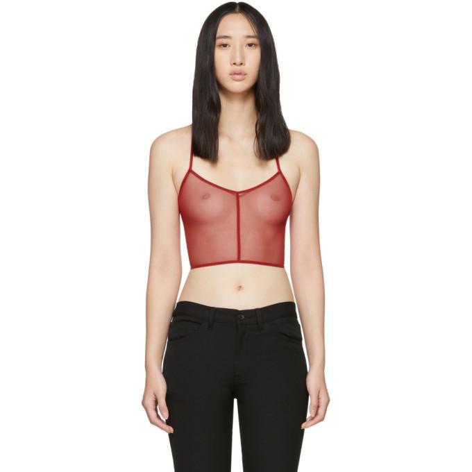 Ann Demeulemeester Red La Fille Do Edition Tulle Bralette