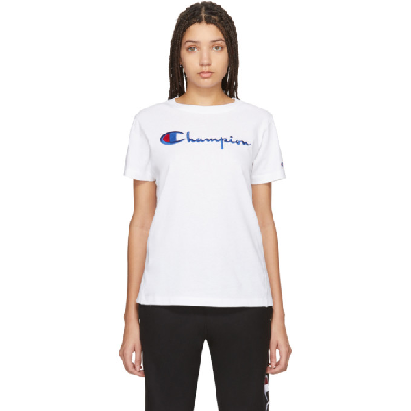 Champion Logo Patch T-shirt In Ww001 White