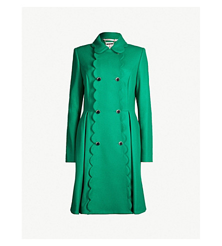 Ted Baker Blarnch Scalloped Wool-Blend Coat In Bright Green