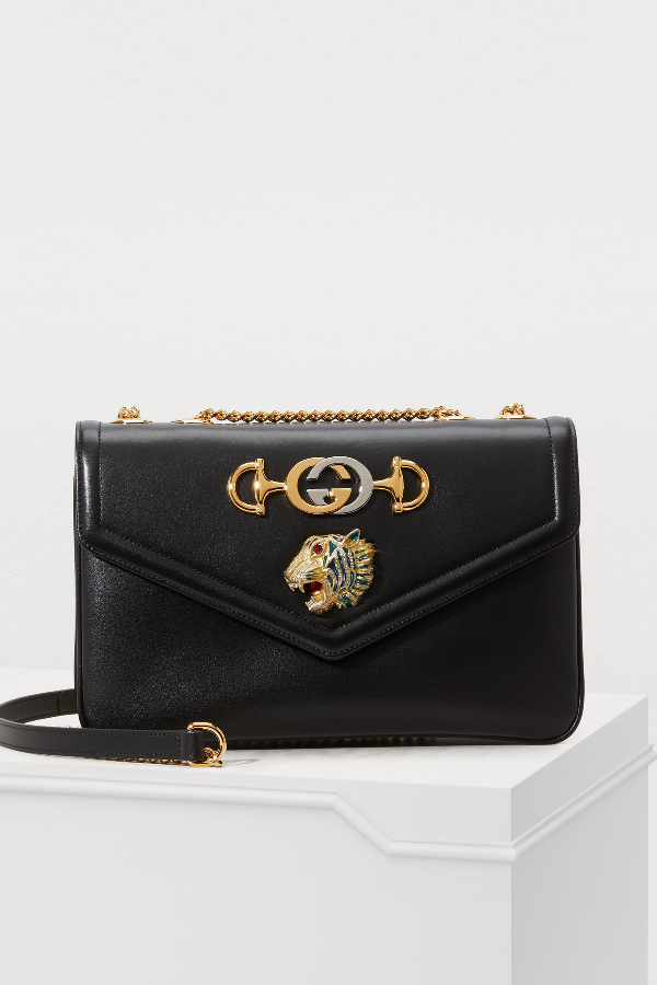 d8c506b2be Gucci Rajah Small Leather Shoulder Bag In Black | ModeSens