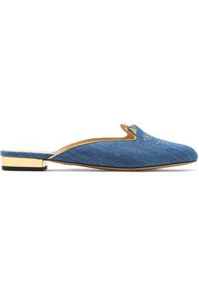 Charlotte Olympia Woman Metallic Embroidered Denim Slippers Light Denim