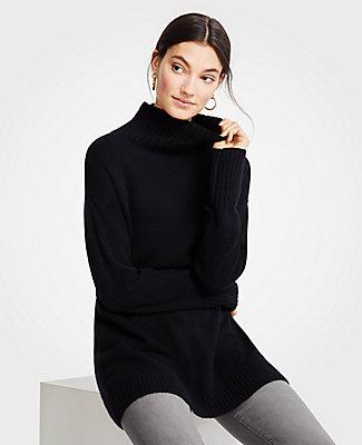e3bb48dc568 Ann Taylor Cashmere Turtleneck Tunic Sweater In Black | ModeSens