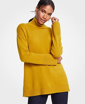 de101bef651 Ann Taylor Cashmere Turtleneck Tunic Sweater In Lemongrass | ModeSens