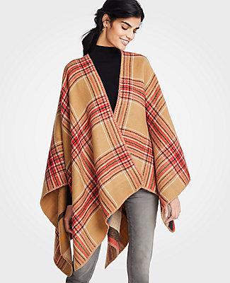 Ann Taylor Reversible Windowpane Poncho In Classic Caramel