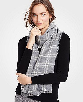 Ann Taylor Windowpane Fringe Blanket Scarf In Chatham Grey