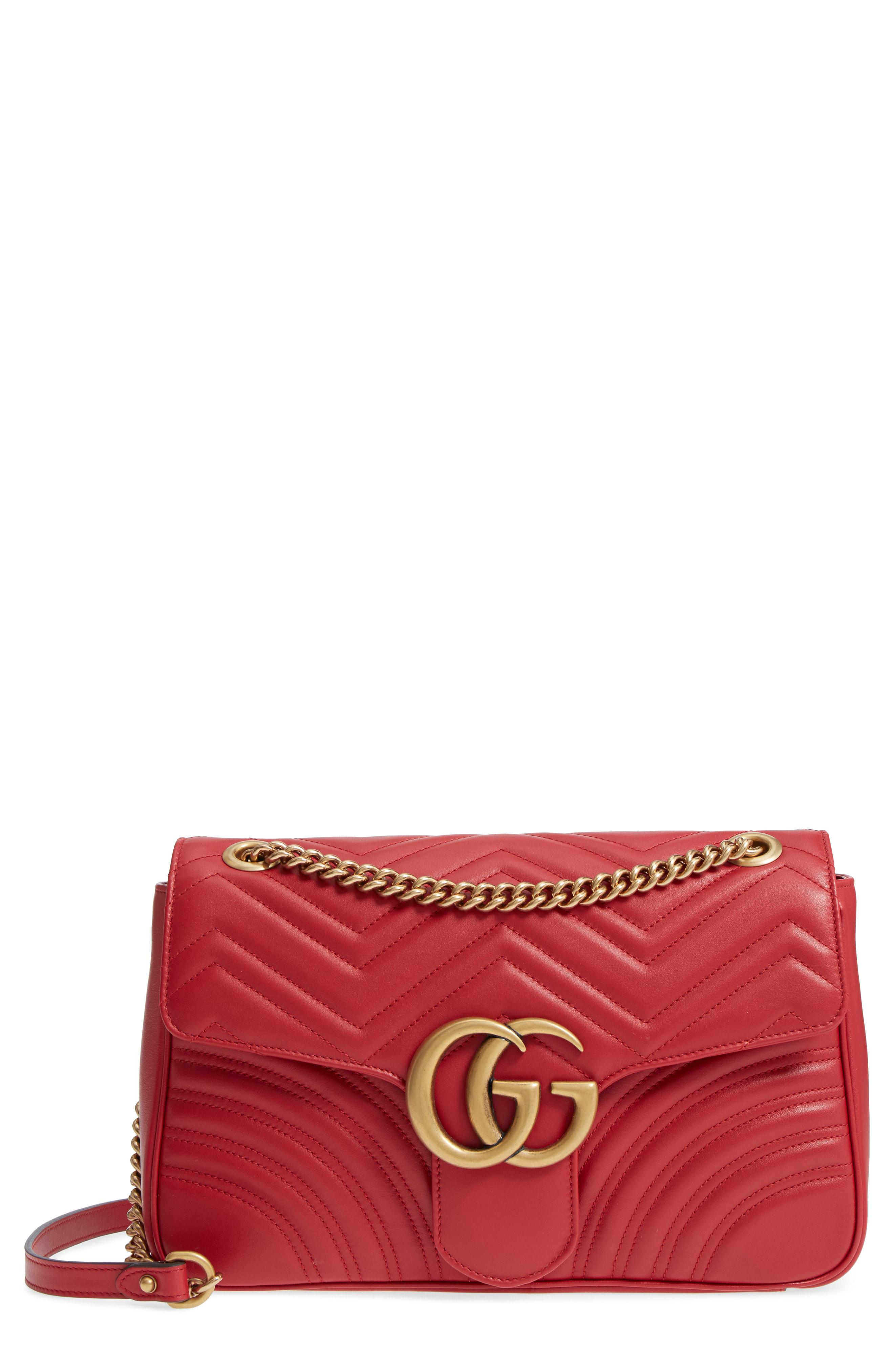 ec82faa27 Gucci Medium Gg Marmont 2.0 Matelasse Leather Shoulder Bag - Red In  Hibiscus Red