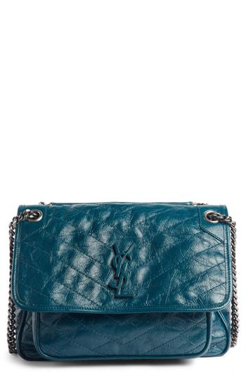 29f914eba9 Saint Laurent Niki Medium Monogram Ysl Shiny Waxy Quilted Shoulder Bag In  Faggio