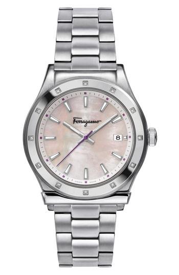 Salvatore Ferragamo 1898 Diamond Bracelet Watch, 40Mm In Silver/ Pink Mop/ Silver