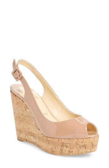 41869d27ca5 Christian Louboutin Une Plume Slingback Platform Wedge In Nude ...