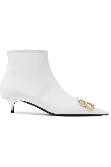 c50091afb6b Knife Logo-Embellished Patent-Leather Ankle Boots in White