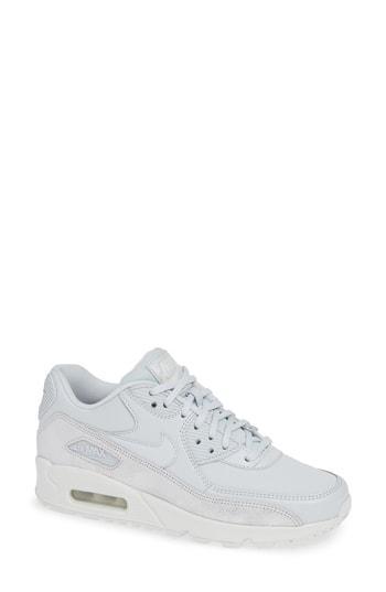 72f3ba2362d2 Nike Air Max 90 Premium Leather Sneakers In Pure Platinum  Platinum- White