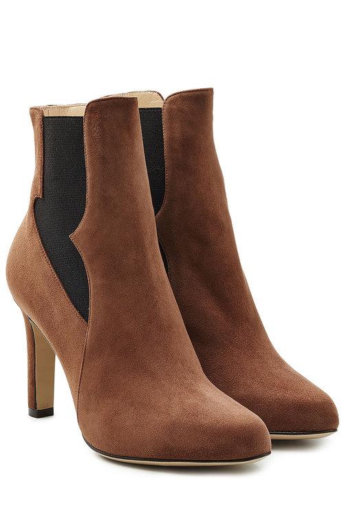 Paul Andrew Suede High Heel Chelsea Boots In Brown