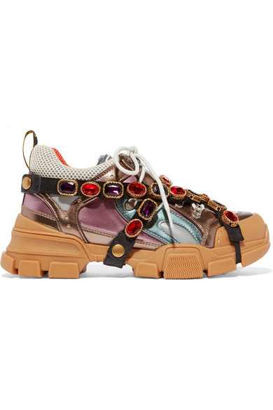 b267969dd0a GUCCI. Flashtrek Embellished Logo-Embossed Metallic Leather And Mesh  Sneakers ...