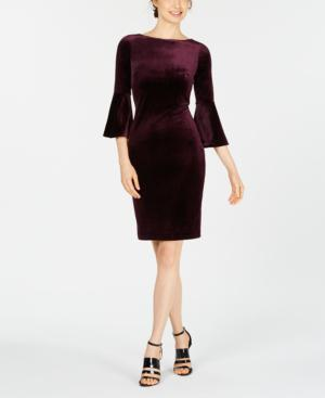 Calvin Klein Petite Velvet Sheath Dress In Aubergine
