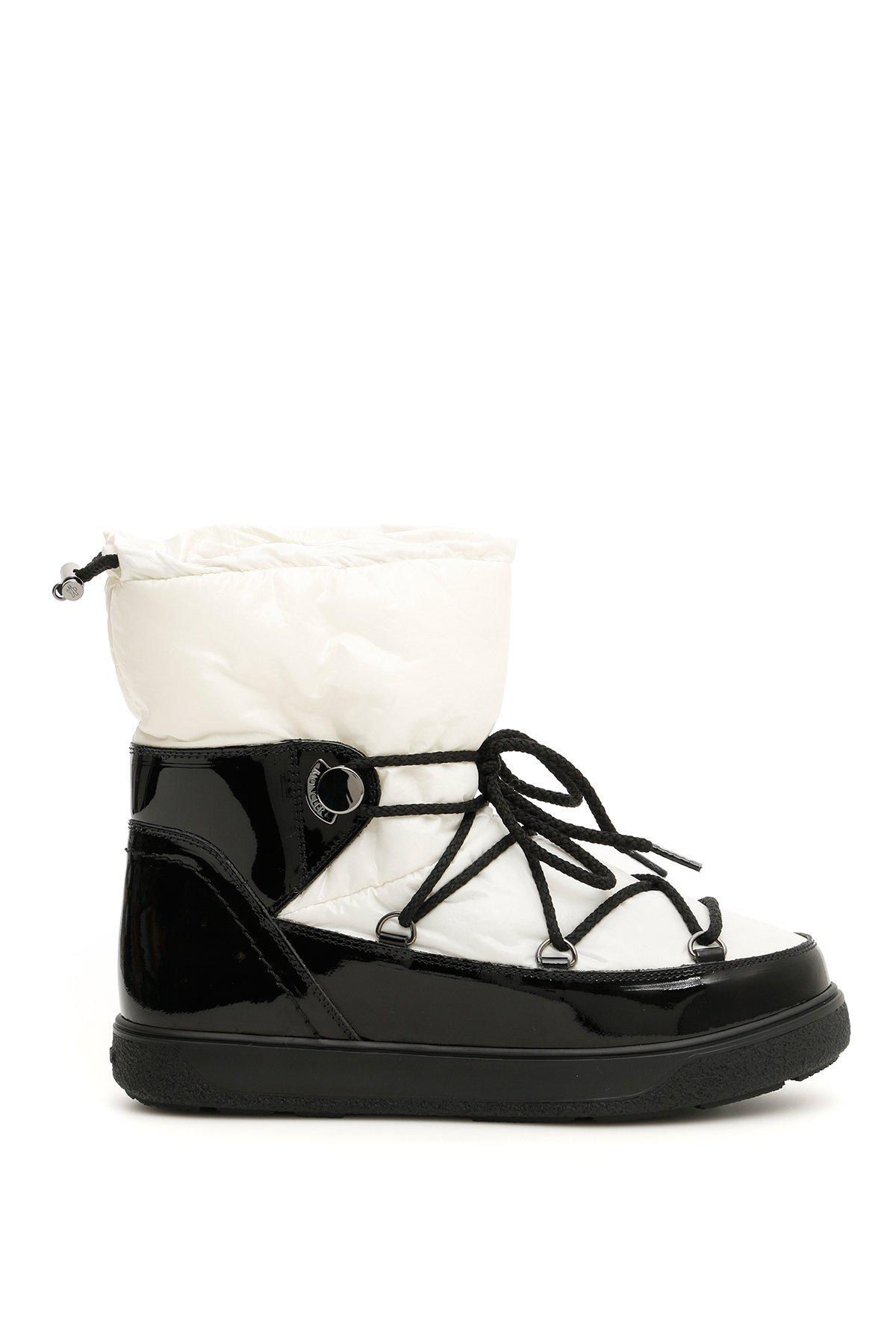 on sale 984d9 aae3d Moncler Basic Ynnaf Patent Moon Boots in Bianco