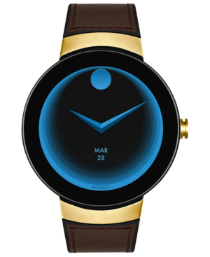 Movado Men's Connected Black Silicone & Chocolate Leather Strap Smart Watch 46.5Mm In Brown