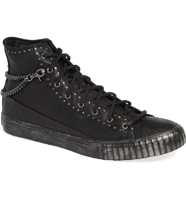 John Varvatos Men's Studded Mid-Top Leather Sneakers In Black Leather