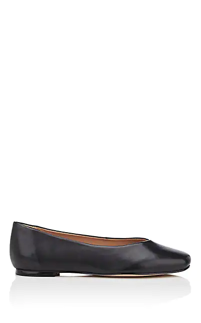 Barneys New York Leather Flats In Black